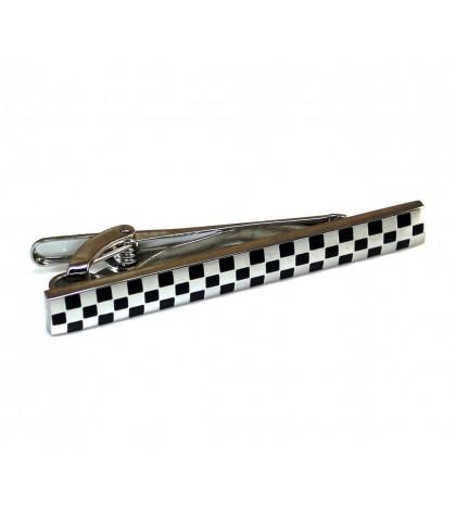 Зажим для галстука стальной с шахматным рисунком
