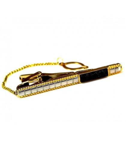 Зажим для галстука серебристый с черной вставкой