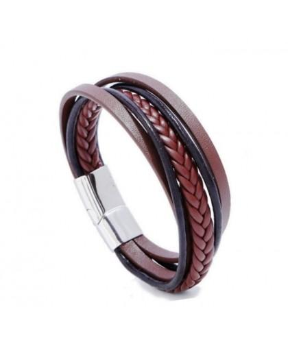 Браслет кожаный с магнитной застежкой коричневый