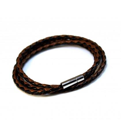 Браслет-намотка  плетеный черно-коричневый
