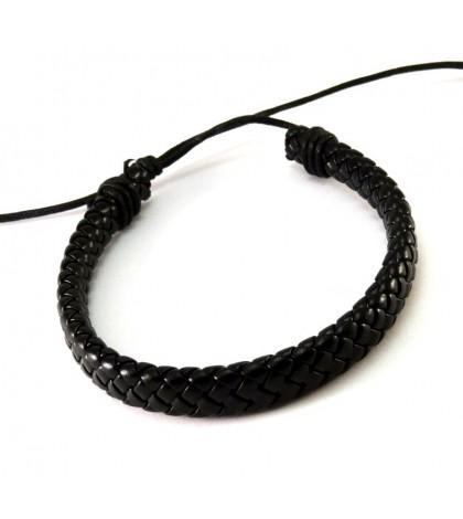 Браслет плетеный на завязке черный