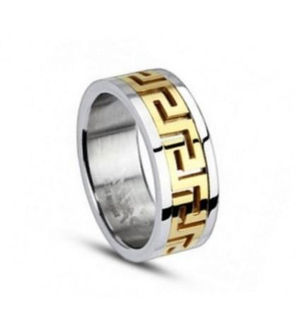 Кольцо Spikes из ювелирной стали с греческим орнаментом