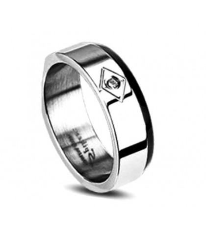Кольцо Spikes из ювелирной стали с фианитом
