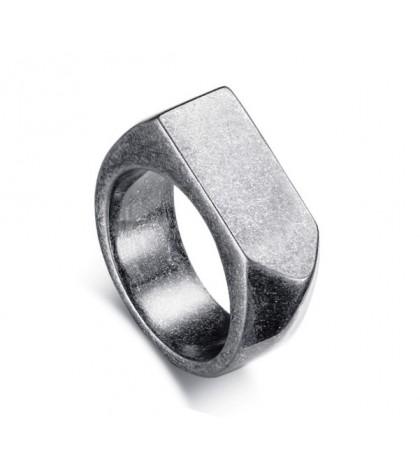 Кольцо-печатка серая