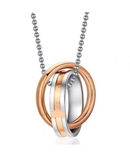 Кулон кольцо в кольце золотистый, из комплекта 2