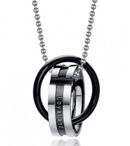 Кулон кольцо в кольце серебристо-черный, из комплекта 2