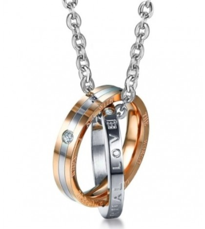 Кулон кольцо в кольце золотистый, из комплекта 1