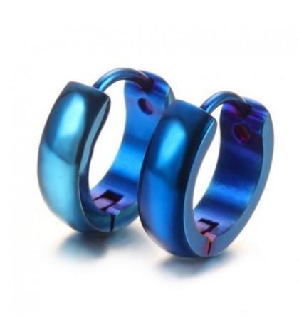 Серьга-кольцо из ювелирной стали синяя