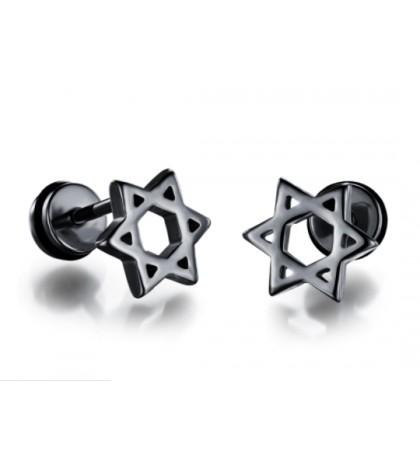 Серьга-гвоздик из ювелирной стали в виде звезды Давида черная