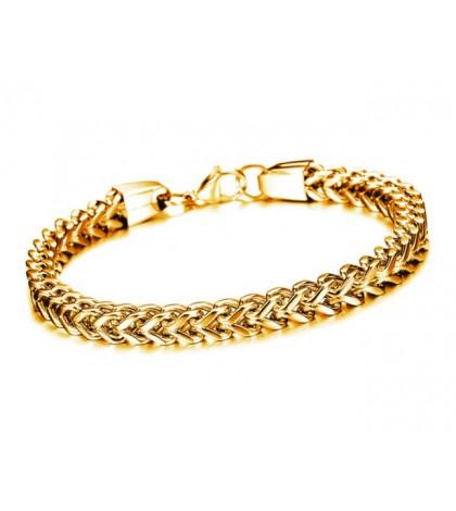 Браслет из ювелирной стали Gold с плетением колос