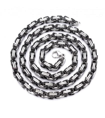 Цепочка из ювелирной стали с византийским плетением комбинированная