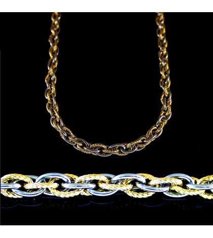 Цепочка из ювелирной стали с кордовым плетением комбинированная