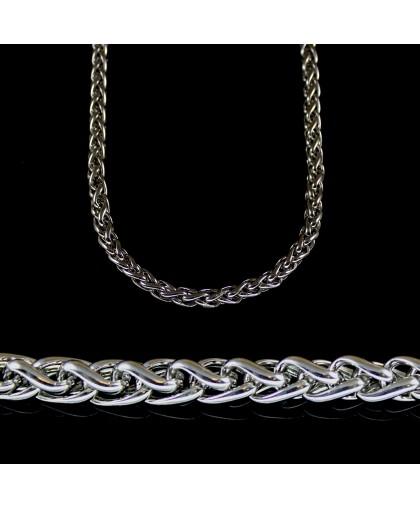 Цепочка из ювелирной стали с плетением колос