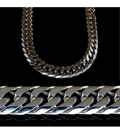 Цепочка из ювелирной стали с панцирным плетением широкая