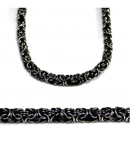 Цепочка из ювелирной стали с византийским плетением черненая